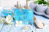 pic of jasmine  - Spa composition with jasmine flowers on table close - JPG