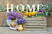 pic of wildflowers  - Garden decoration with wildflowers and decorative letters - JPG