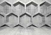 picture of honeycomb  - Abstract concrete interior with honeycomb structure on the wall - JPG