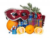 stock photo of tangerine-tree  - Christmas gifts and fir - JPG