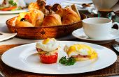 stock photo of benediction  - Eggs Benedict served for delicious breakfast - JPG