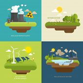 stock photo of deforestation  - Ecology Concept Vector Icons Set for Environment - JPG