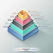 image of parallelepiped  - Modern infographics options banner with 3d pyramid for 5 options made of colorful blocks - JPG