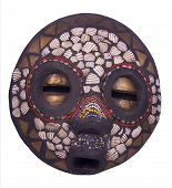 picture of african mask  - African ritual mask of yoruba people from Nigeria made of mud decorated isolated on white - JPG