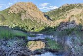 image of collins  - North Fork of Cache la Poudre River with springtime flow in Eagle Nest Open Space in northern Colorado at Livermore near Fort Collins - JPG