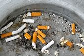 foto of discard  - Cigarette butts discarded in big metal ashtray - JPG