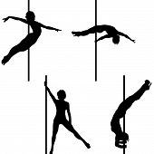stock photo of pole dancing  - Collection of 4 Pole dance vector silhouettes - JPG
