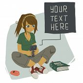 pic of post-teen  - The vector illustration of young girl writing message on her mobile phone for games - JPG