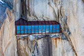 image of crevasse  - View of the rock of Aiguille du Midi mont - JPG