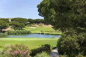 picture of vilamoura  - A nice view of a golf course with a lake and blue sky in Portugal - JPG
