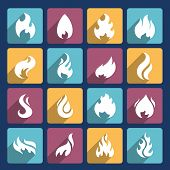 image of fieri  - Fire flame burn flare torch hell fiery square long shadow icons set isolated vector illustration - JPG
