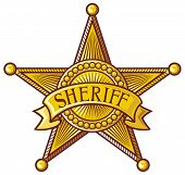 picture of iron star  - Sheriff badge vector illustration on white background - JPG