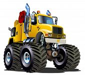 stock photo of monster-truck  - Cartoon Monster tow truck isolated on white background - JPG