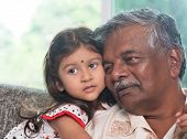 image of granddaughters  - Portrait Indian family at home - JPG