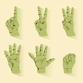 image of numbers counting  - retro hand finger counting number icon vector - JPG