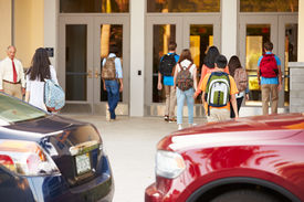 image of lifting-off  - High School Students Being Dropped Off At School By Parents - JPG
