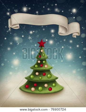 Illustration with christmas tree and ribbon banner