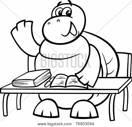 Turtle Raising Hand Coloring Page