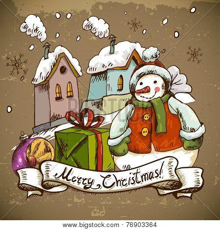 Snowman illustration for Christmas design