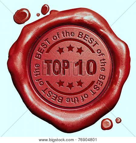 top 10 chart ranking or winners result red wax seal stamp