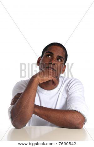 Attractive man deliberates a decision