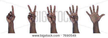 Dark-skinned hand counting