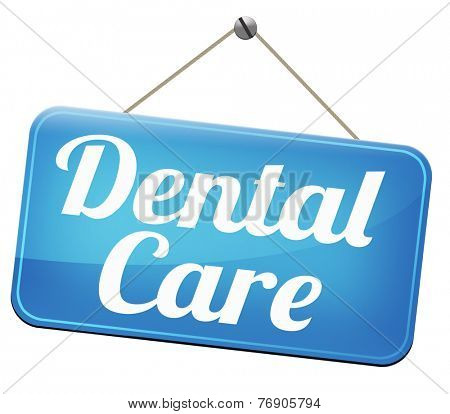 dental care center oral hygiene or surgery for healthy teeth without caries but with a beautiful smile with text