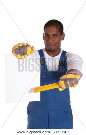 Worker pointing at blank contract