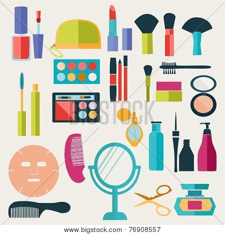 Make-up-beauty Cosmetic Icons-set