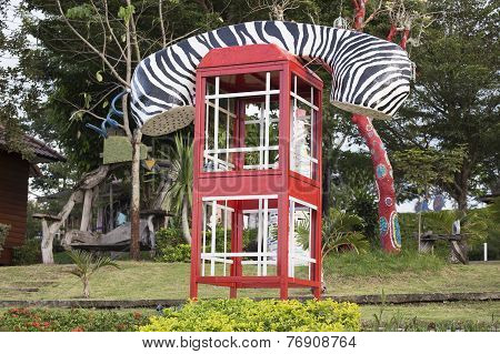 Fashioned Telephone Booth Or Public Payphone