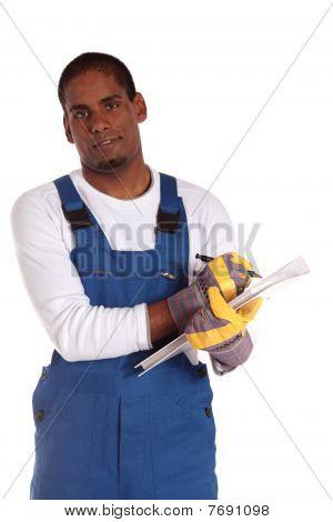 Worker during stocktaking