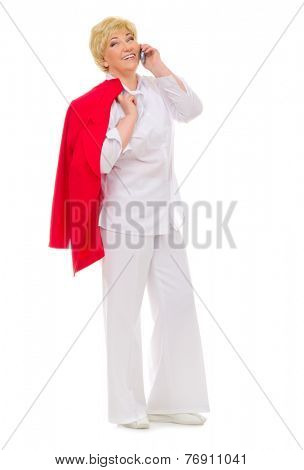 Senior woman with mobile phone isolated