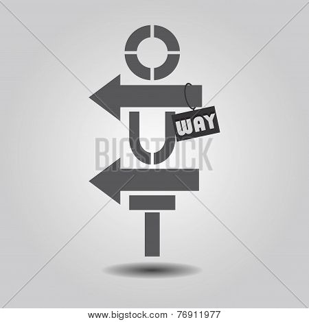 Way Out abstract vertical sign on gray gradient background