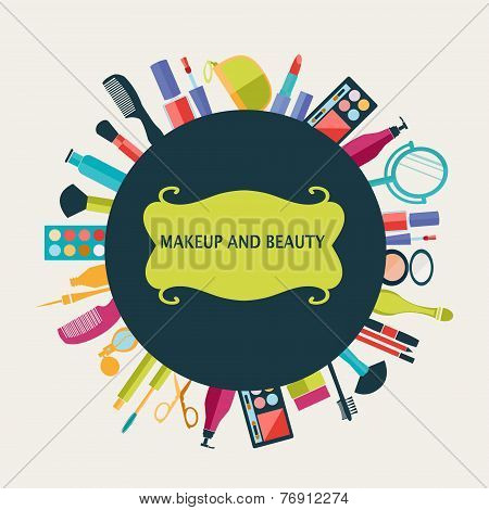 Set Of Makeup And Beauty Elements  Pattern-illustration