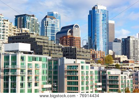 Seattle downtown on a sunny afternoon in fall.