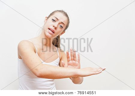 Woman Performing Gesture For Away From Me