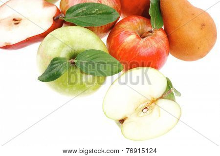 red pear and green apple with half isolated over white background