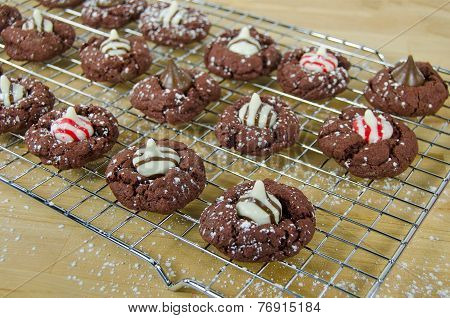 chocolate cookies on rack