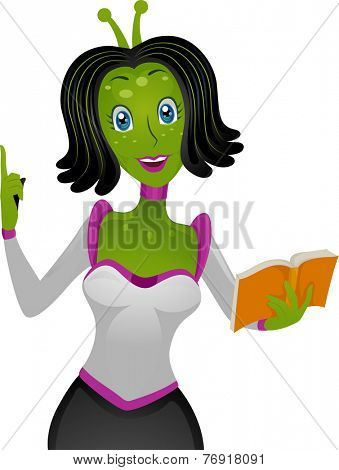 Illustration Featuring a Female Alien Teacher Holding a Book