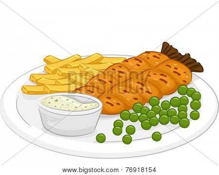 Illustration Featuring a Plate of Fish and Chips