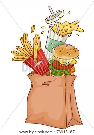 Illustration Featuring a Paper Bag Full of Common Fast Food Snacks