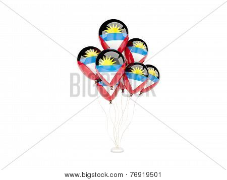 Flying Balloons With Flag Of Antigua And Barbuda