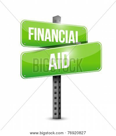 Financial Aid Street Sign Illustration Design