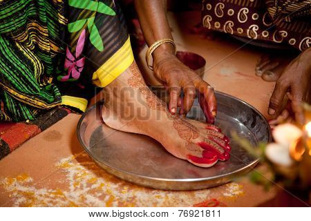 Indian bride doing marriage rituals