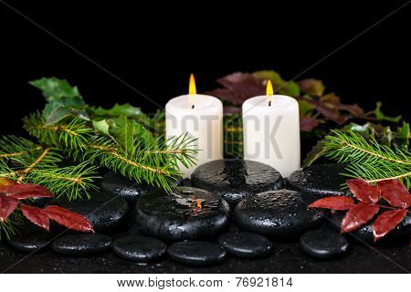Winter Spa Concept Of Zen Basalt Stones, Evergreen Branches, Red Leaves With Drops And Candles, Clos