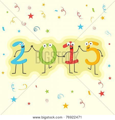 Happy New Year 2015 celebration sticky with 2015 text in a kiddish way on colorful ribbons and stars decorated background.