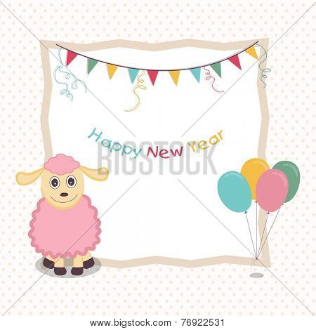 Colorful text of Happy New Year in frame decorated with kiddish sheep, ribbon and balloons on stylish background.