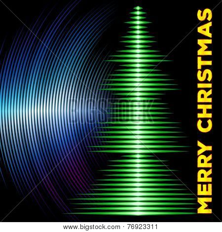 Musical christmas tree card with vinyl grooves