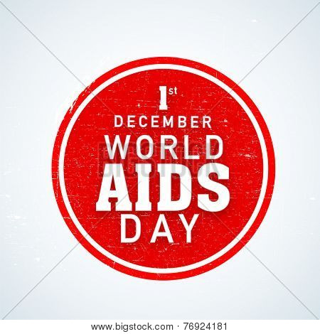 Sticker, label or badge design for World Aids Day concept on shiny sky blue background.