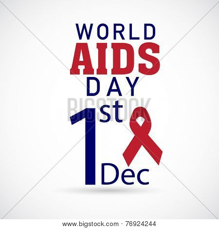 Poster or banner for 1st December, World Aids Day with red awareness ribbon on white background.